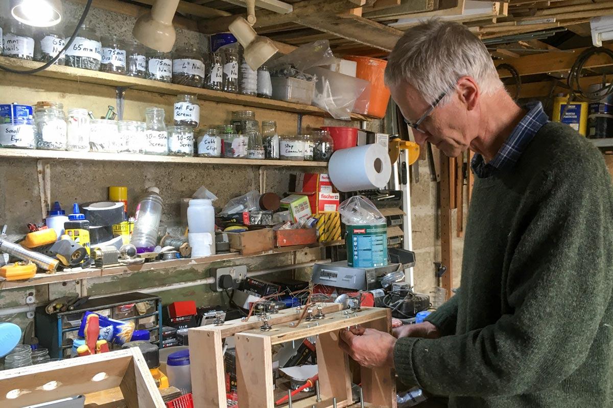 Roger in the workshop