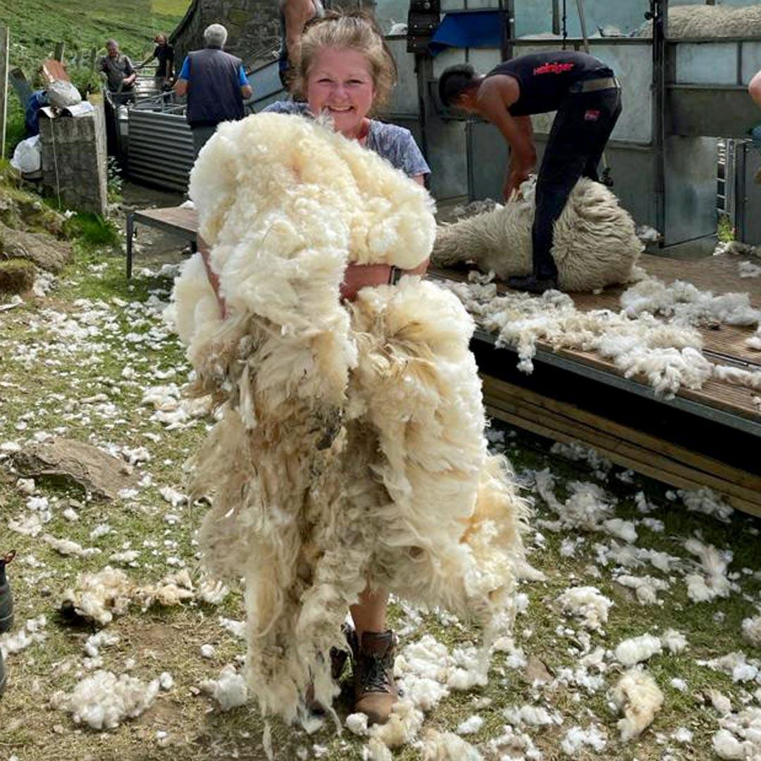 Angie with sheep fleece