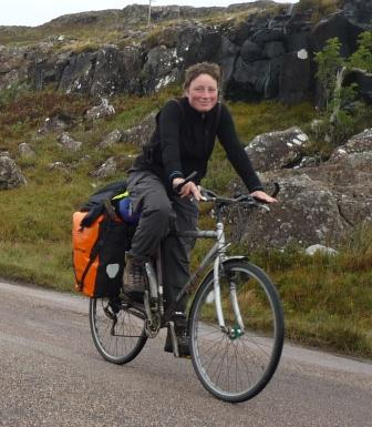 Andrea cycling to Mull