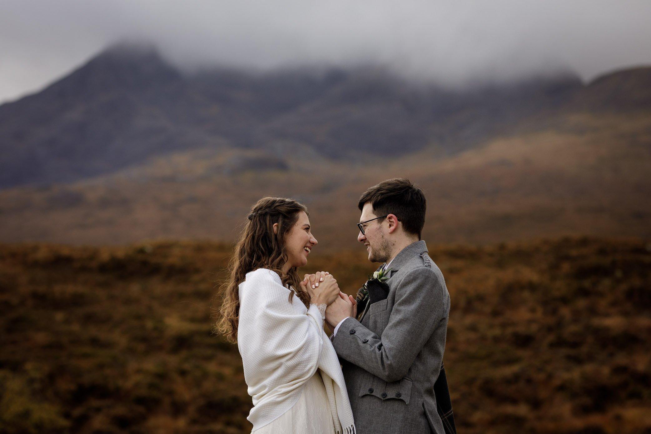 Wedding couple in Skye landscape