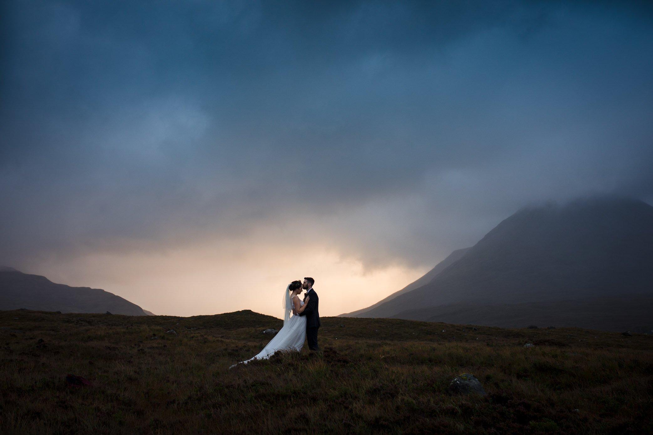 Wedding couple in landscape