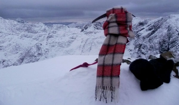 woolly scarf on top of Sgurr Thuilm, Cuillin Hills