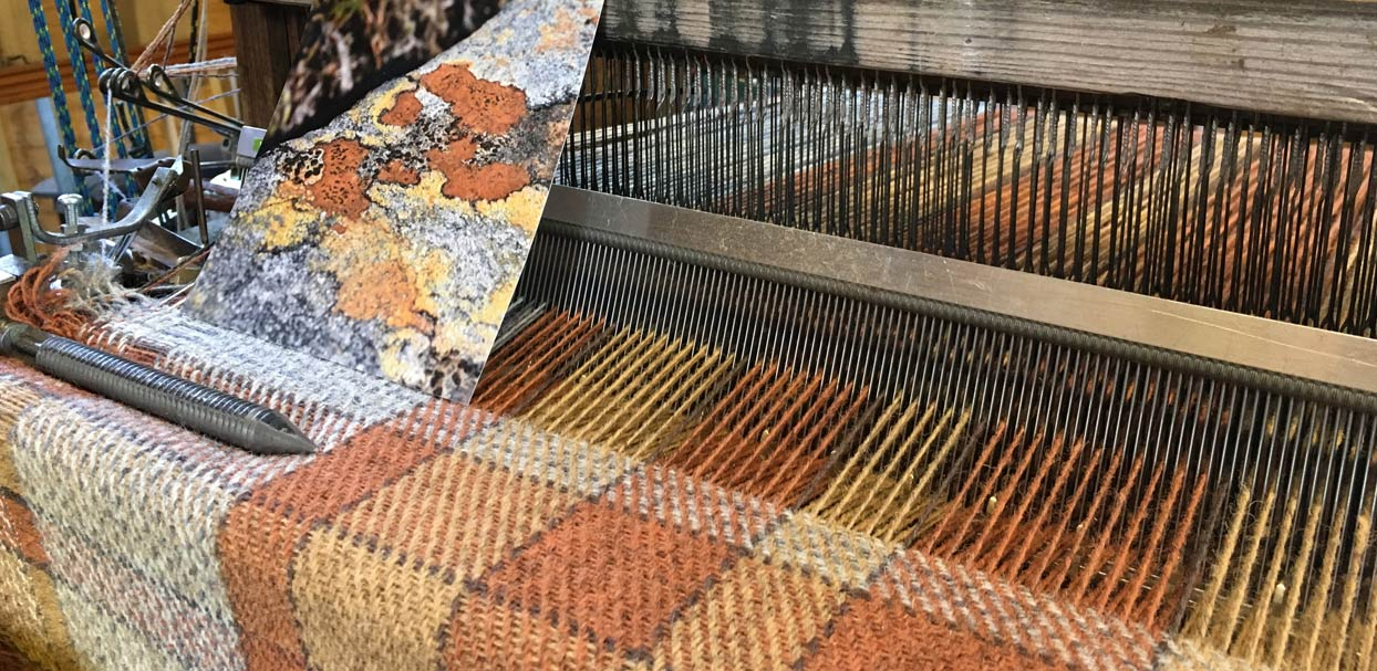 cloth on loom with picture of lichen