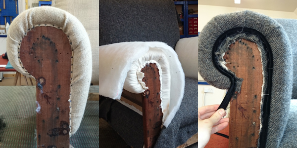 upholstering an armchair