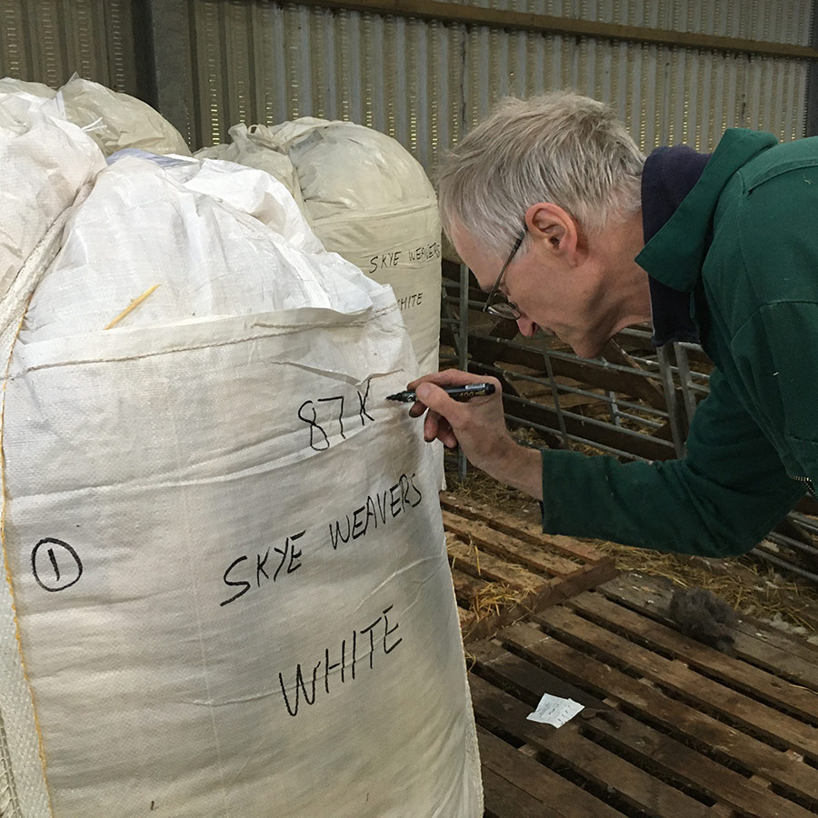 Roger labelling wool bags
