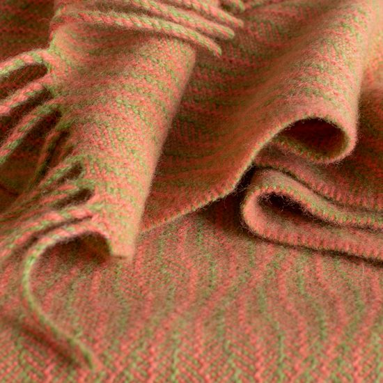 baby blanket soft coral and willow green
