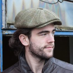 baker boy cap moss check tweed