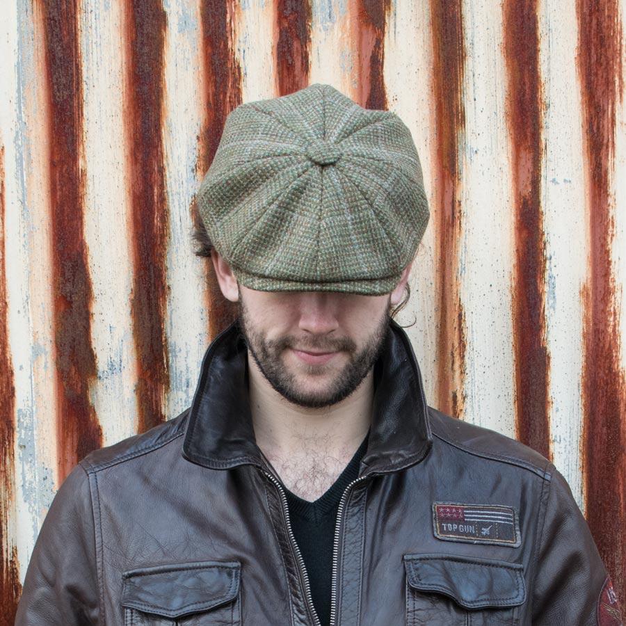 Skye Weavers Baker Boy Cap Moss Check Tweed