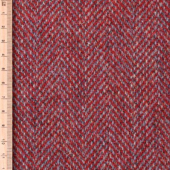 brushed tweed red herringbone