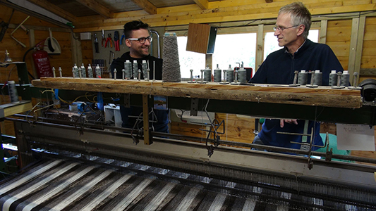 skye weavers explaing weaving process