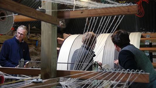 skye weavers explaining warping