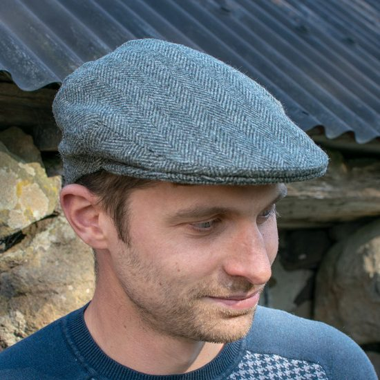 flat cap pine herringbone tweed