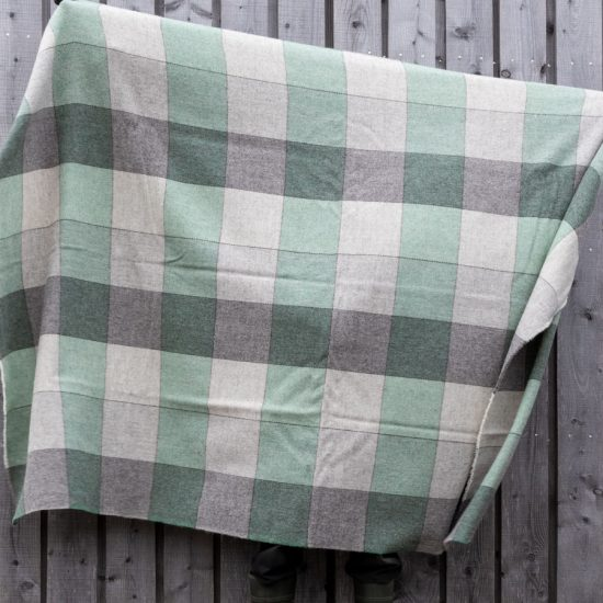 grey and green throw extra-long