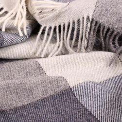 large check wool throw grey and dark blue
