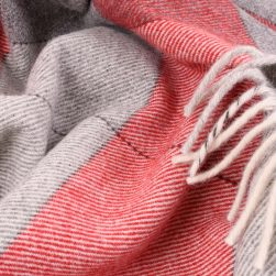 large check wool throw grey and red