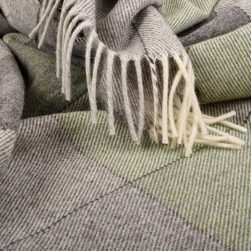 large check throw natural and sage green