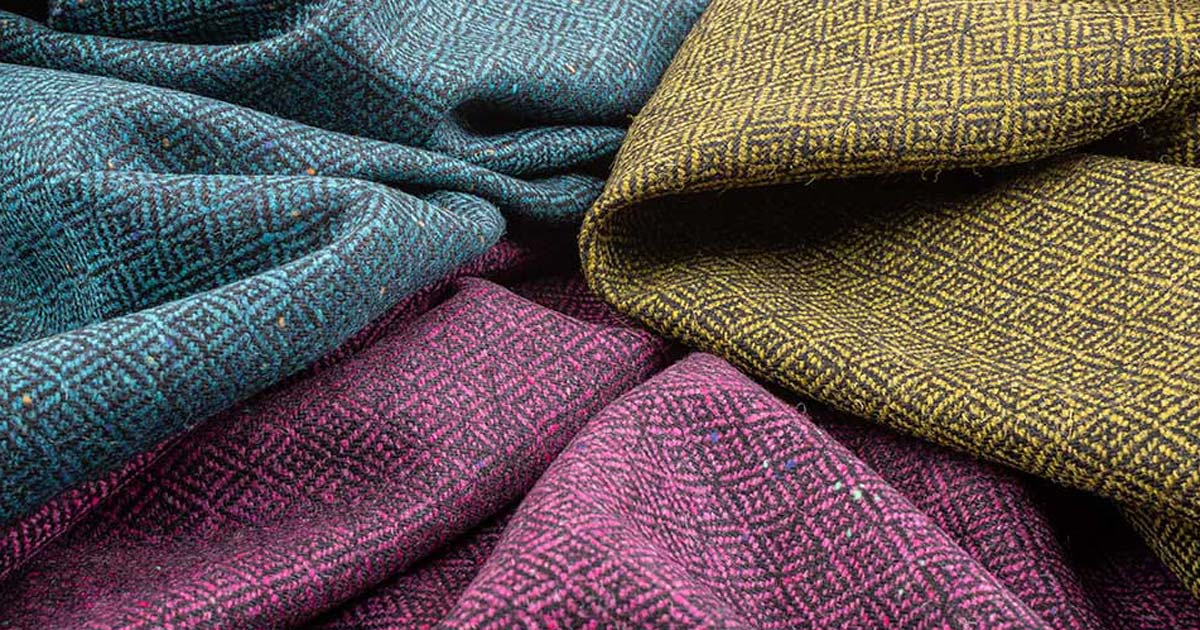 close up of coloured tweeds