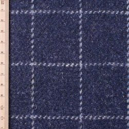close up of skye weavers navy blue windowpane tweed
