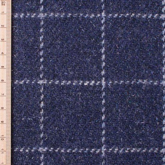 close up of skye weavers navy blue windowpane tweed