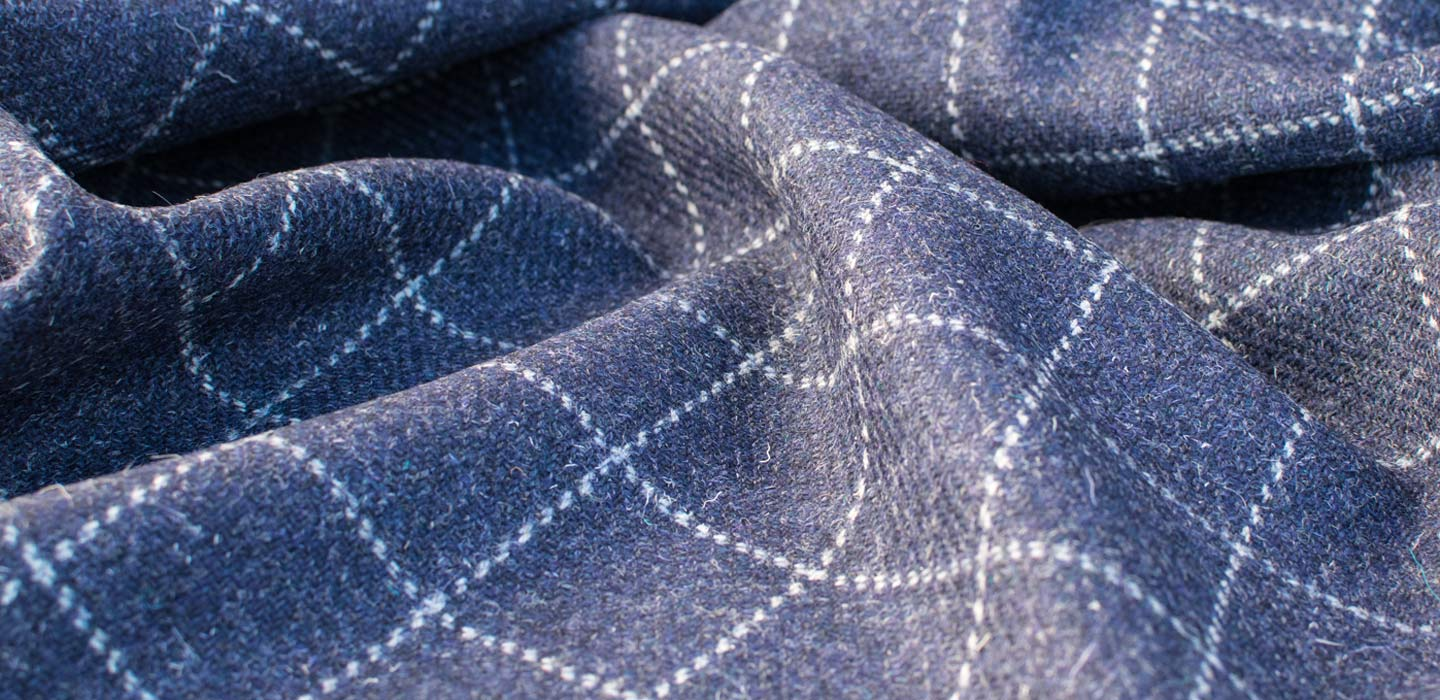 skye weavers navy blue windowpane tweed