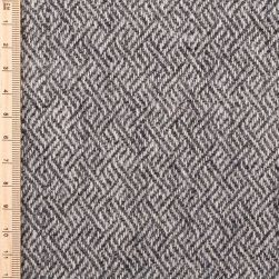 close up of tweed in plaited twill charcoal