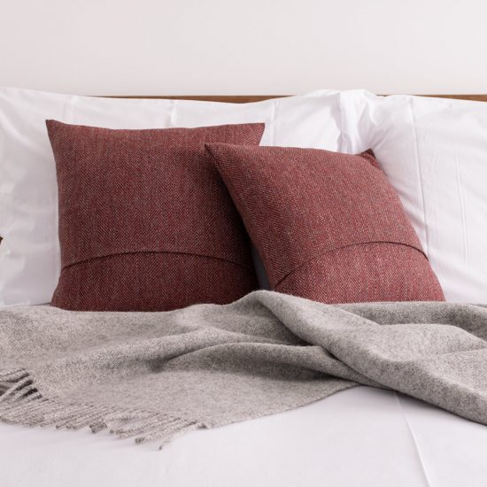 red herringbone tweed cushion