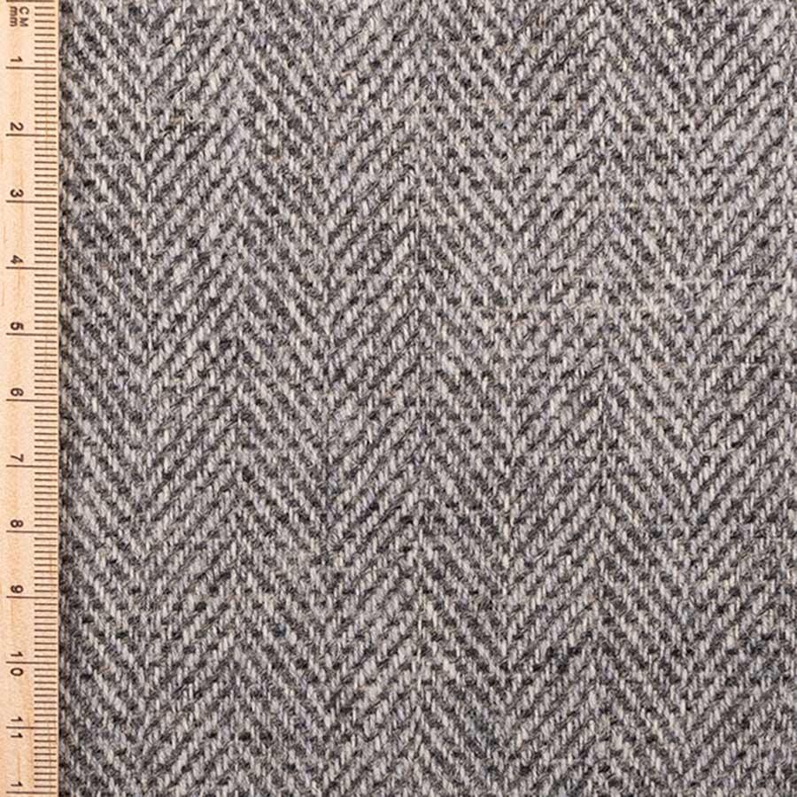 Close up of silver birch herringbone tweed
