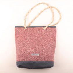 a red tweed bag