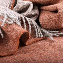 skye wool throw grey and rust