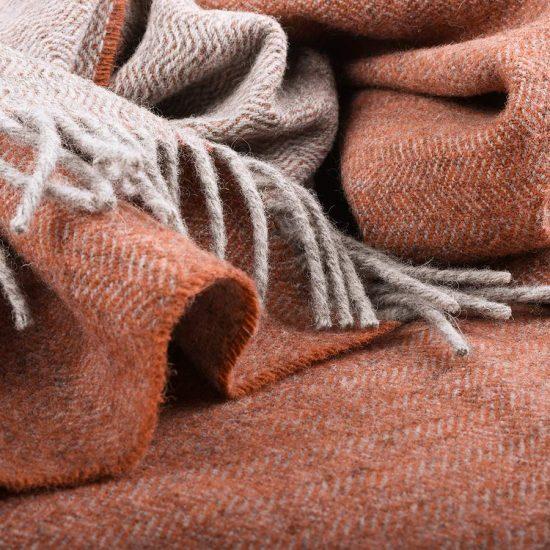 skye wool throw grey and rust