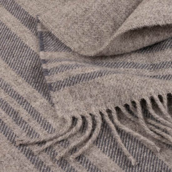 skye wool throw grey stripes