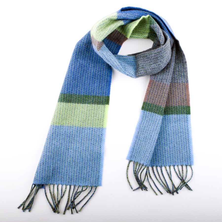 silky soft children s scarves in stripes of blues and greens