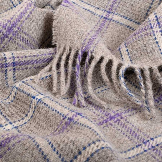 tartan throw heather mist