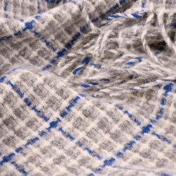 wool throw blue check