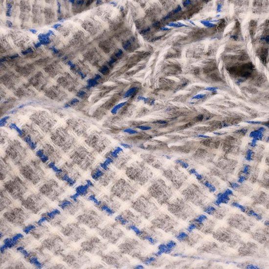 wool throw blue check