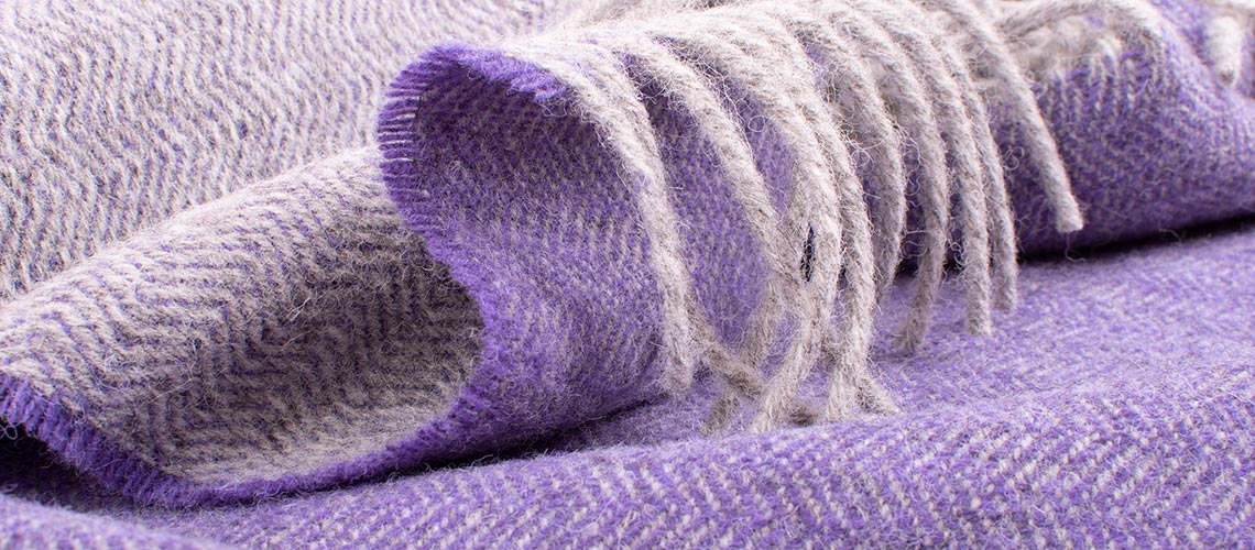 skye wool throw grey and purple