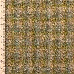 close up of green and yellow check tweed