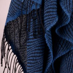 wave pattern shawl indigo