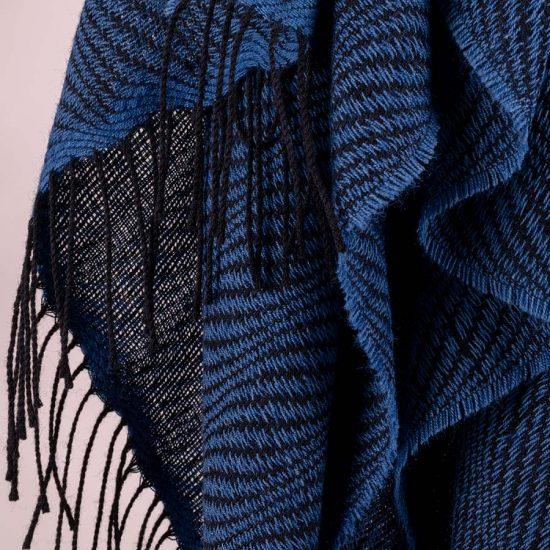 wave pattern shawl indigo