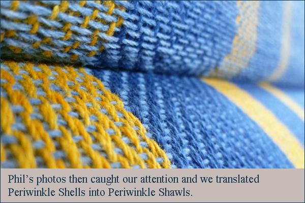 skye weavers periwinkle shawls on loom