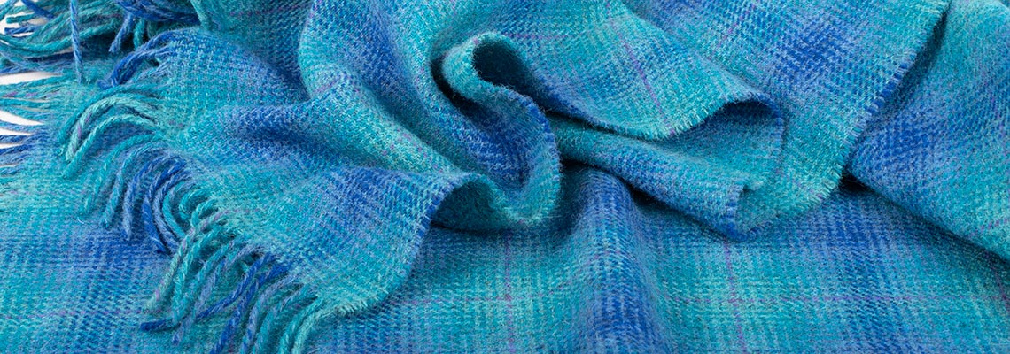 Detail of blue woven throw