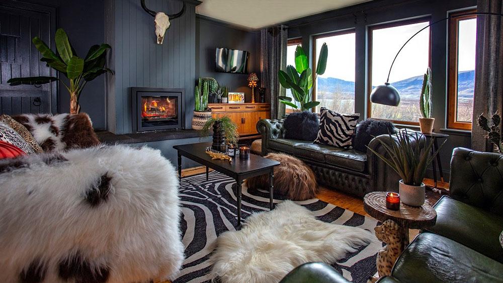 Interior with sheepskin throws