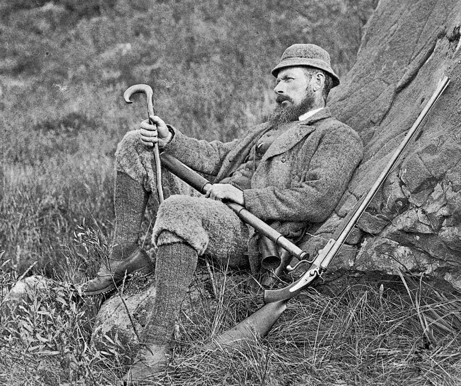 Donald Urquhart, head stalker at Inverewe estate in late 19th c., wearing tweed