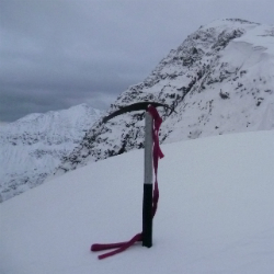 ice axe in snow