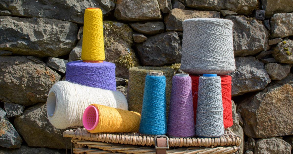 coloured yarns on reels